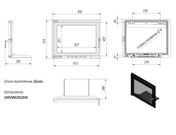 Дверцы для камина Zuzia 515x652 мм - 2